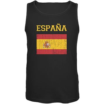 World Cup Distressed Flag Espana Black Adult Tank Top