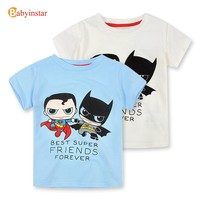 New Fashion 2016 Children Boys t Shirt Cute Cartoon Batman VS Superman Print Short Sleeve Cotton Summer Kids T-Shirt