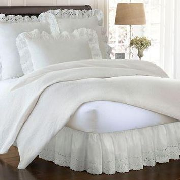 Smootheweave Ruffled Eyelet 14-Inch Twin Bed Skirt in Ivory