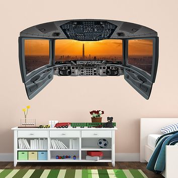 Airplane Pilot Cockpit Wall Mural | City Window Wall Decal - CP17
