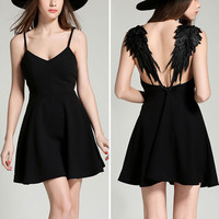 New Summer Women Gothic Punk Hollow Angel Wings Sexy Backless Mini Dress Ladies Spaghetti Strap Solid Color Party Beach Dresses