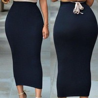 ONETOW Women ladies Elegant skirt bandge bodycon high waist pencil bodycon maxi skirt long skirts black gray greenfashion plus size