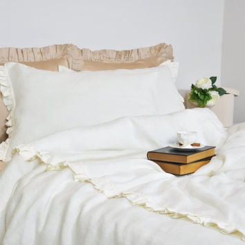 Ruffle Linen Duvet Cover Set in Full Queen King - Ivory, Ecru, Off White - Pure Linen Bedding, Romantic, Shabby Chic Bedding
