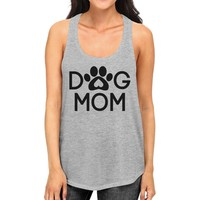 Dog Mom Women's Grey Cute Dog Paw Graphic Tank Top For Dog Lovers