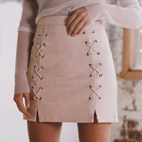 Lace Up Leather Highwaisted Skirt