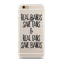 "Clear Snap-On case for iPhone 6/6S (4.7"") - I Love Bands As Much As I Hate School - Teenager - Fangirl - Fanboy - Sassy - Funny - Hipster (C) Andre Gift Shop"