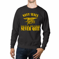United States Navy Seals Never Quit Quotes Unisex Sweaters - 54R Sweater
