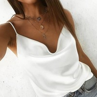 Sexy sleeveless shirt satin cami top Women v neck backless white top female Fashion silk ladies camisole tank top