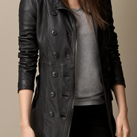 Lambskin Trench Coat with Shearling Topcollar