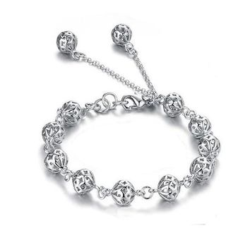 Lacework Beads Openwork Filigree design 8 Inch Silver Bracelet for Women