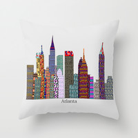 Atlanta city skyline Throw Pillow by Bri.buckley