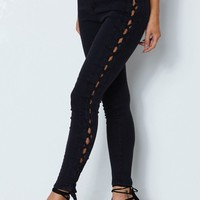 Rascal Lace Up Skinny Jeans Washed Black