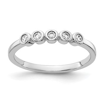 14k White Gold 5-stone Bezel-set Real Diamond Band