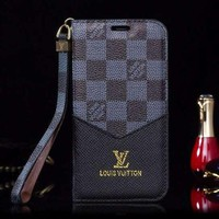 LV Louis Vuitton Fashion New Monogram Check Print Leather Women Men Protective Cover Phone Case