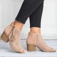 Open Toe Perforated Booties- Taupe