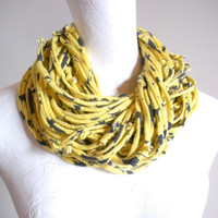 Yellow Gray Cowl Scarf Lemon Zest Pewter Upcycled Infinity Scarf Repurposed Clothing Warm Winter Accessories Gifts Under 75