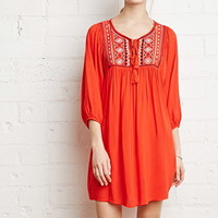 Geo-Embroidered Peasant Dress