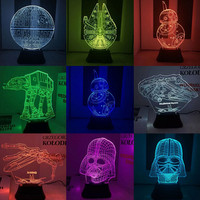 Hot NEW 7color changing 3D Bulbing Light BB8 BB-8 Star Wars Yoda visual illusion LED lamp action figure toy Christmas gift