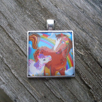 Lisa Frank RAINBOW CHASER and LOLLIPOP Horse and Foal Rainbow Sticker Square Pendant Charm Necklace