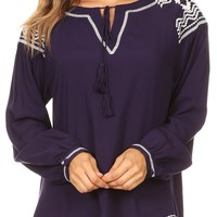 Sakkas Dani Long Sleeve Embroidered Tassel Tie Front Notch Blouse