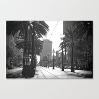 Canal Street travel print fine art photography New Orleans French Quarter black and white decor vintage streetcar sign one way gift under 50