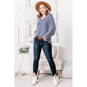 Taking Care Of Business Soft Knit Striped Top