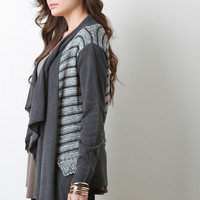 Striped Crochet Faux Layers Draping Cardigan