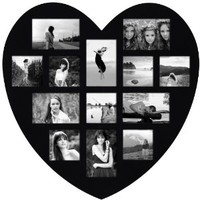 Adeco [PF0304] Decorative Black Wood Wall Hanging Heart-Shaped Picture Photo Frame, 13 Openings of 4x6 inches, 4x4 inches