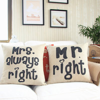 Mr and Mrs Right Decorative Pillow Case