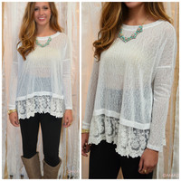 SZ LARGE Hide & Go Chic White Lace Trim Sheer Top