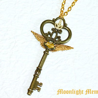 Sailor Moon Necklace - Sailor Moon Eternal Tiare Rod Inspired - Handmade Crown Wing Heart Key Sailor Moon Necklace Jewelry Christmas Gift