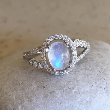 Halo Engagement Ring- Moonstone Ring- Promise Ring- Wedding Ring- Solitaire Ring- Rainbow Moonstone Ring- Sterling Silver Ring- June Ring
