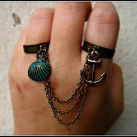 anchor and shell double ring  by alapopjewelry