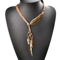 New Bohemian Style Black Rope Chain Leaf Feather Pattern Pendant Necklace For Women Fine Jewelry Collares Statement Necklace