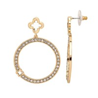 Marie Claire Jewelry Crystal Gold Tone Clover Hoop Drop Earrings (Yellow)