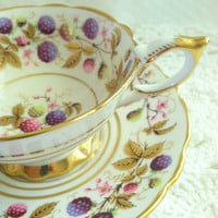 Vintage English Royal Stafford Golden Bramble Pattern Tea Cup and Saucer/Made in England Fine Bone China/Bridal Gift