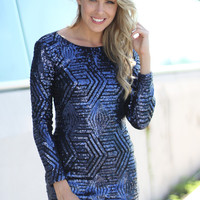 Navy Sequin Short Dress