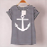 2017 colors Navy Striped with Printed Anchor Bear women T-shirts short Hot Sleeve t shirts Stretch Cotton tees Modal tops S/XL