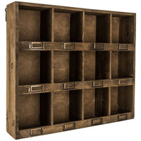 Antique Brown Wooden Wall Shelf with 12-Slots | Hobby Lobby