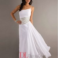 2014 New Styles A-Line One Shoulder Chiffon White Long Prom Dress/Evening Gowns With Beading VTC659