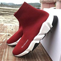 Balenciaga Trending Woman Men Stylish Boots Breathable Running Shoes Sneakers Burgundy I/A