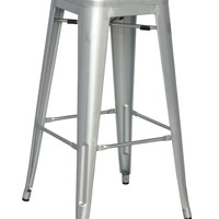 Silver Galvanized Steel Bar Stool (Set of 4)