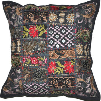 24X24 XL Black Decorative Accent Pillow, Gypsy Throw Pillow for Couch, Boho Patchwork pillow, Ethnic Indian Pillow, Cottage Pillow, Antique
