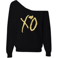 XO Off-The-Shoulder Wideneck Slouchy Sweatshirt