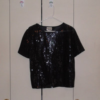 Vintage 1980s sequin shirt party medium new year's eve black glitter