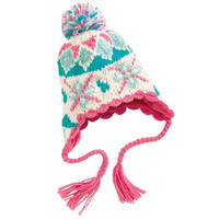 Toddler and Baby's Cute Snowflakes Knitted Cotton Beanie Hat with Ear Flaps