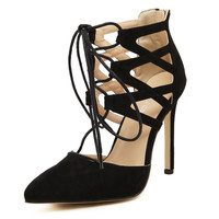 Sexy Pointed Toe High Heels Lace Up