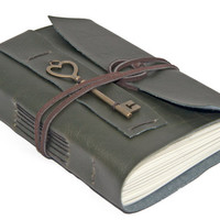 Dark Green Faux Leather Journal with Heart Key Bookmark