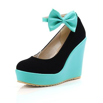 Women's Bow Color Matching Platform Wedges Shoes