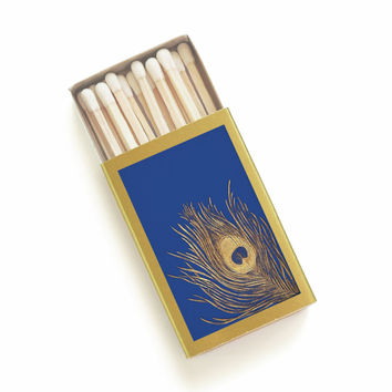 Blue and Gold Peacock Feather Matchbox - Vintage Book Cover - Pair with a Candle - 1920's vibe - Bridesmaid Gift - Light an Art Deco Spark
